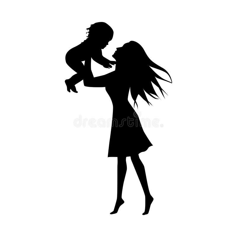 黑人妇女现出轮廓与白色背景的小孩 向量例证