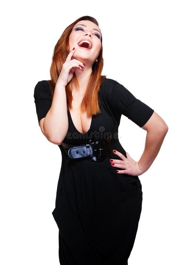 黑人快乐的礼服妇女 库存图片