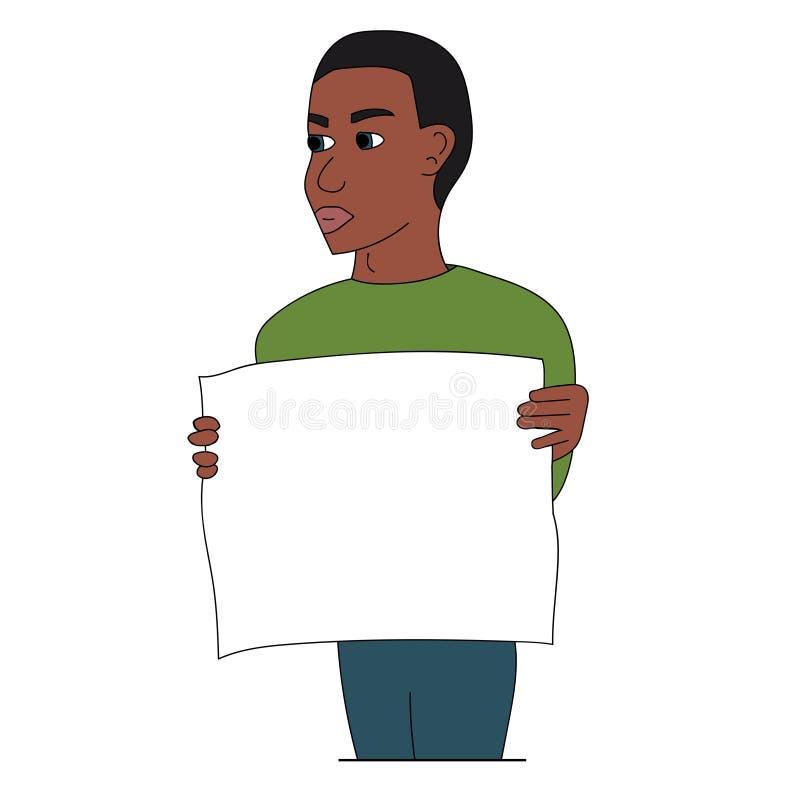 黑人抗议与海报 被隔绝的储蓄例证 库存例证