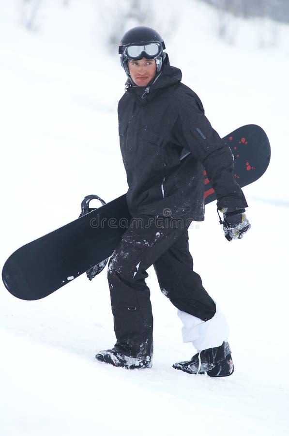 黑人挡雪板 免版税库存图片