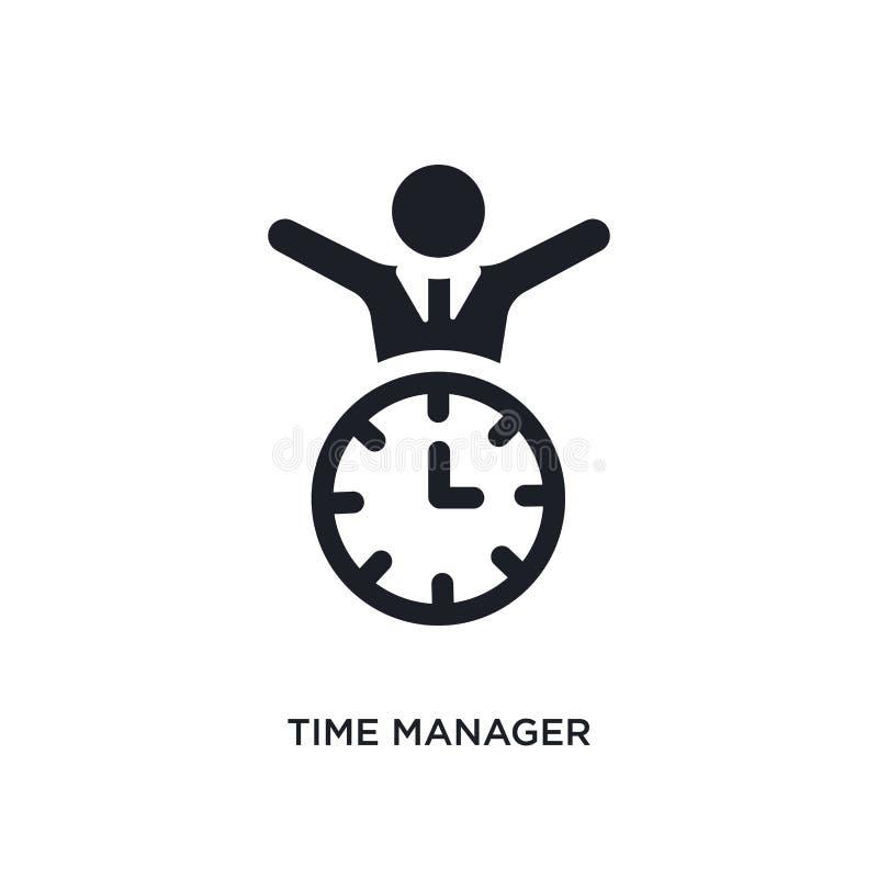 黑人时间经理被隔绝的传染媒介象 从时间管理概念传染媒介象的简单的元素例证 时间经理 皇族释放例证