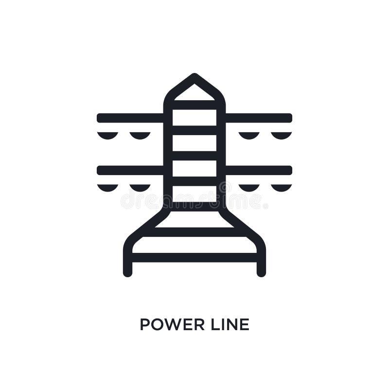 黑人权力线被隔绝的传染媒介象 r 输电线编辑可能的商标 库存例证