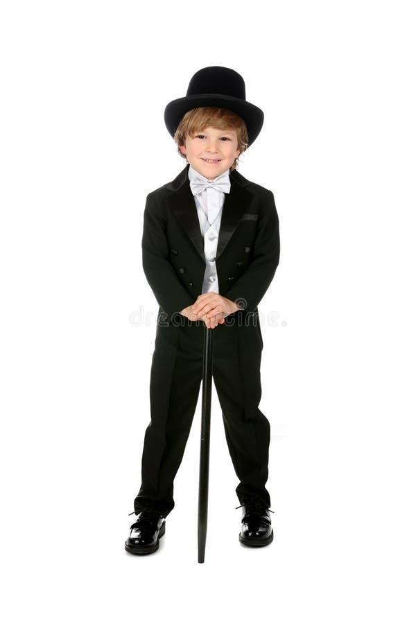 黑人男孩咧嘴笑的无尾礼服年轻人 库存图片