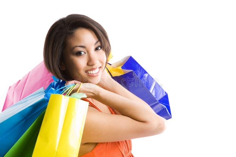 黑人购物妇女 图库摄影