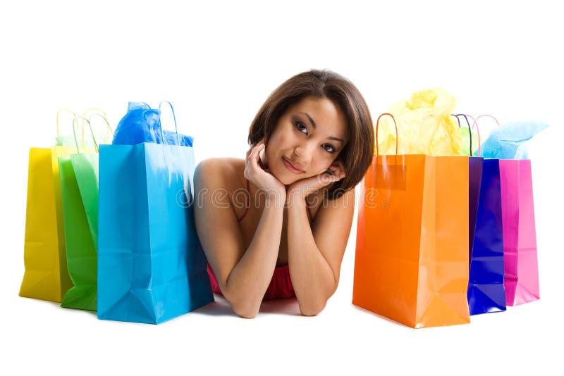 黑人购物妇女 免版税库存照片