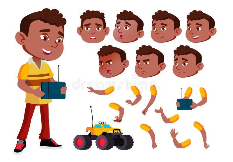 黑人,美国黑人的男孩,孩子,孩子传染媒介 年轻 面孔情感,各种各样的姿态 动画创作集合 查出 皇族释放例证