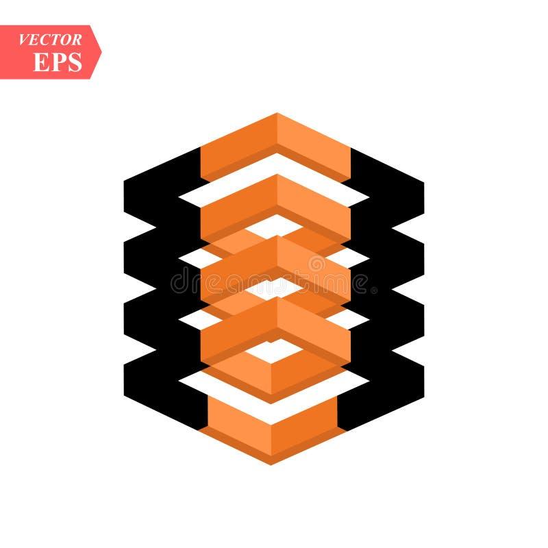 黑传染媒介的对比和在白色背景隔绝的橙色立方体 皇族释放例证