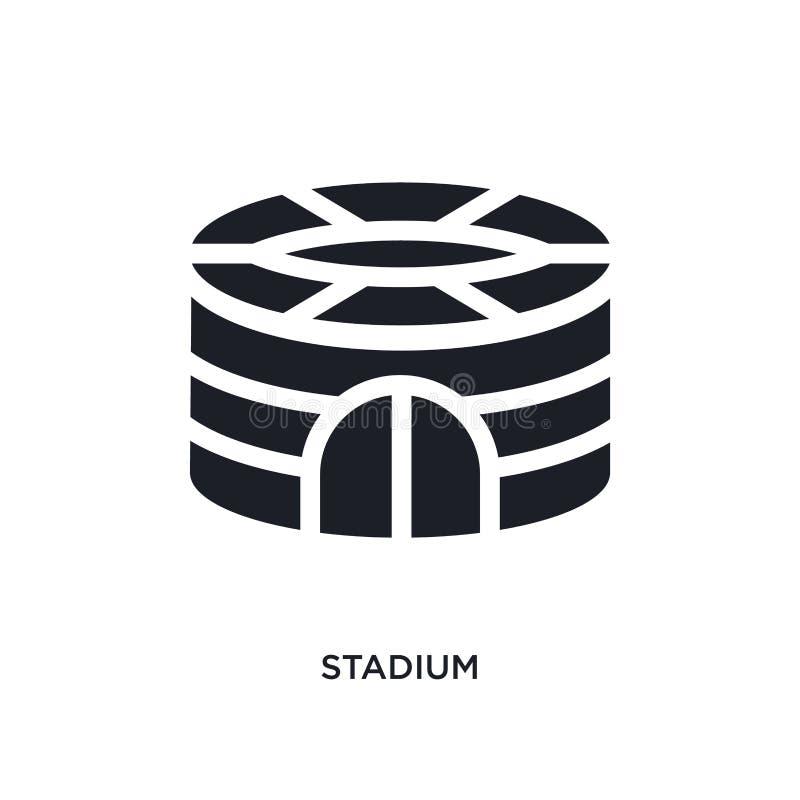 黑体育场被隔绝的传染媒介象 从橄榄球概念传染媒介象的简单的元素例证 体育场编辑可能的黑商标 向量例证