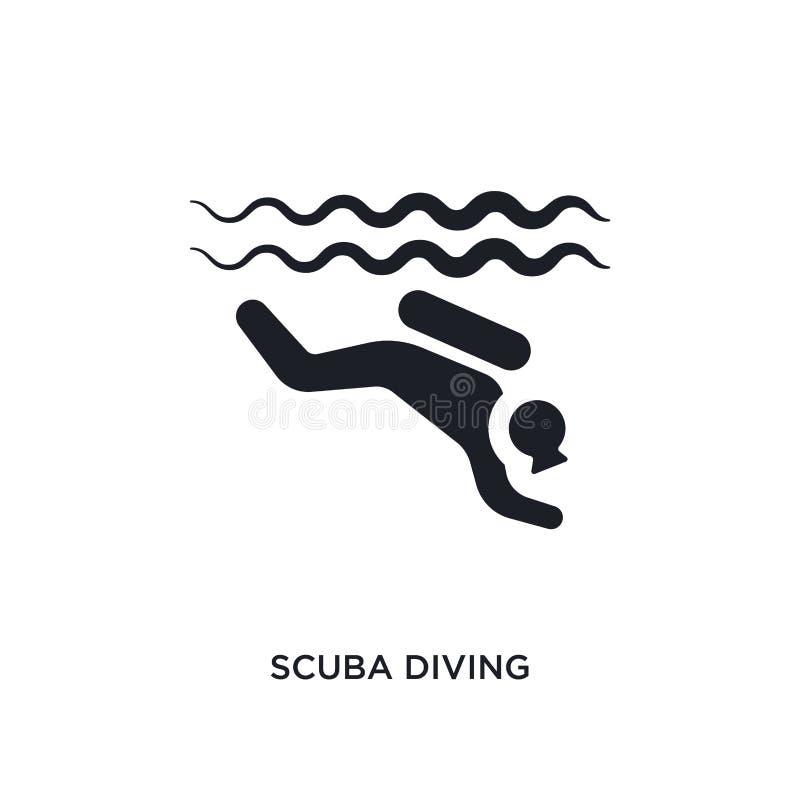 黑佩戴水肺的潜水被隔绝的传染媒介象 r 佩戴水肺的潜水编辑可能的商标 库存例证