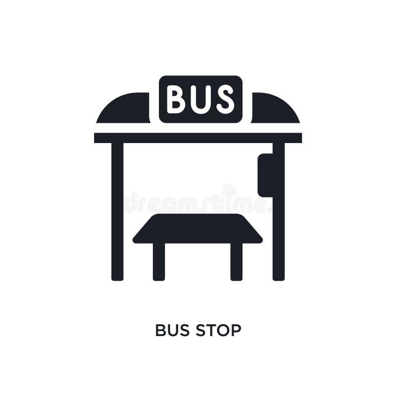 黑公交车站被隔绝的传染媒介象 从旅行概念传染媒介象的简单的元素例证 公交车站编辑可能的商标标志 皇族释放例证
