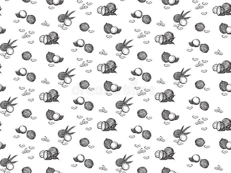 黑剪影椰子概述无缝的样式 传染媒介图画椰树果子 手拉的图表例证,隔绝在白色 皇族释放例证