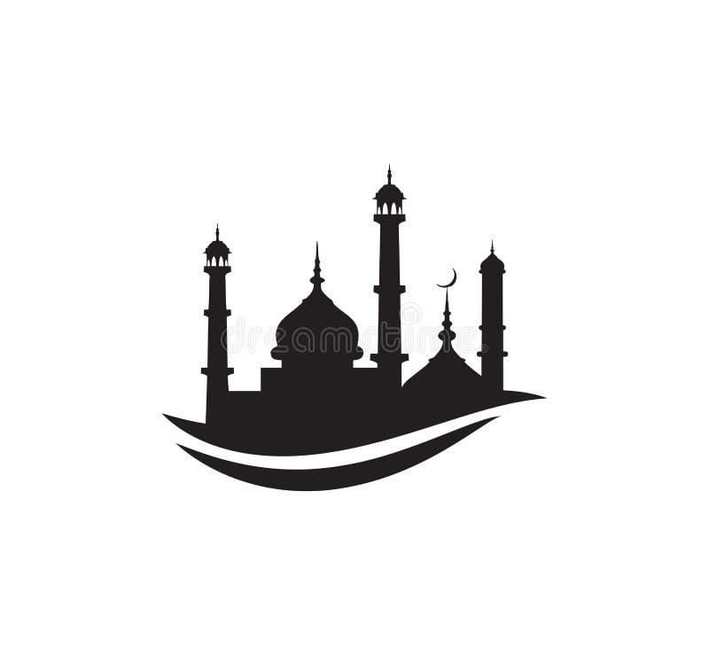 黑剪影清真寺标志商标标志设计 库存例证