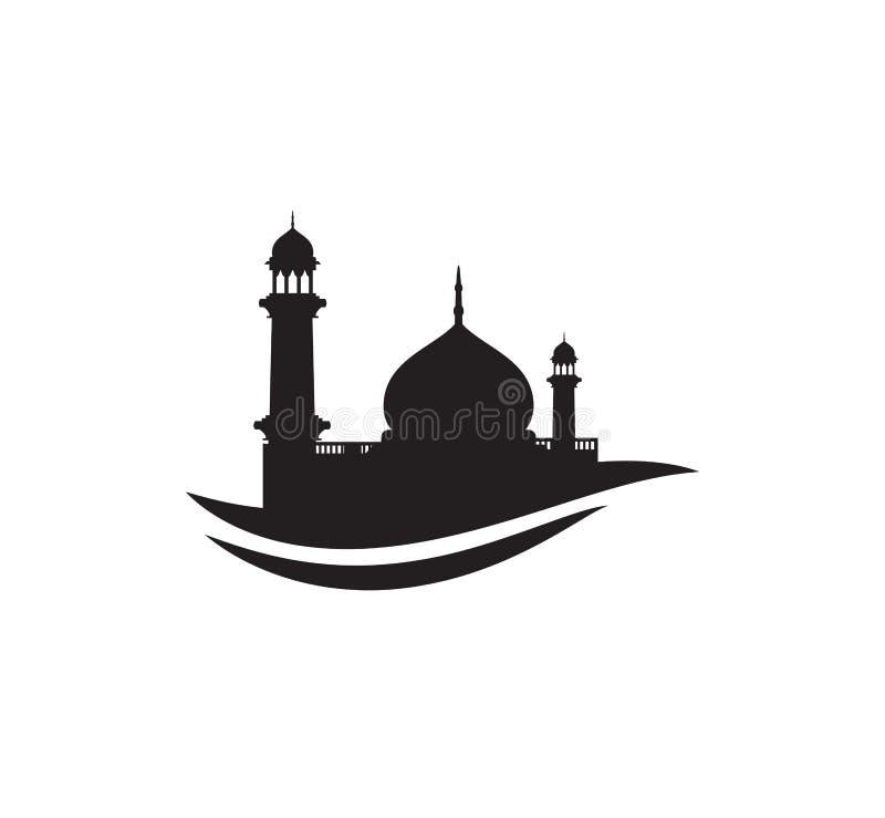 黑剪影清真寺标志商标标志设计 皇族释放例证
