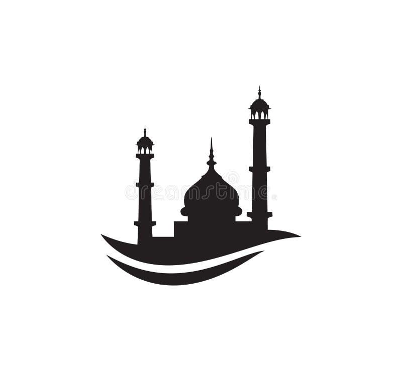 黑剪影清真寺标志商标标志设计 向量例证