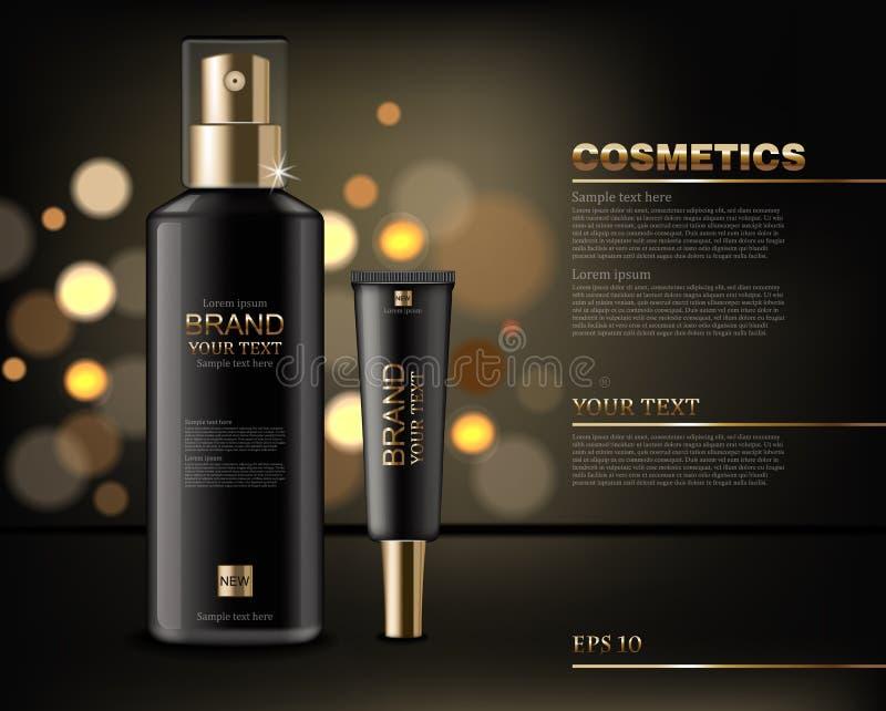 黑化妆用品瓶导航现实 产品包装的嘲笑  金黄发光的背景bokeh作用 3d详述了illustratio 向量例证