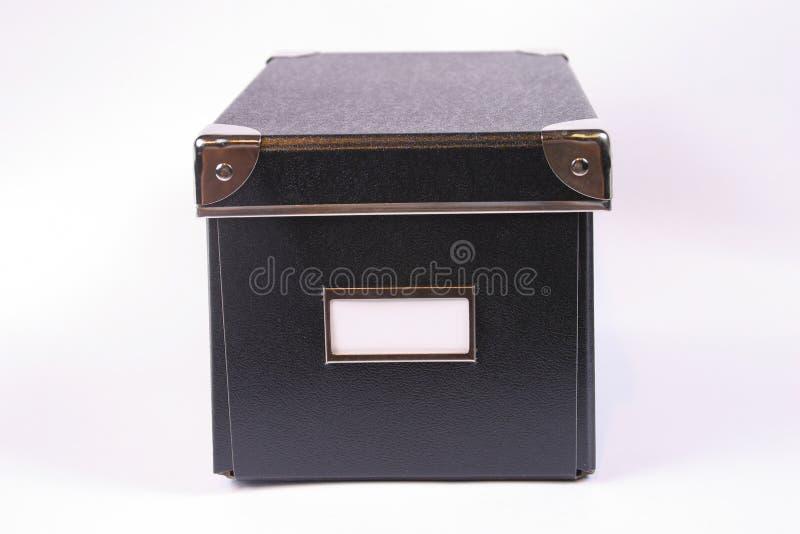 黑匣子标签白色 免版税图库摄影