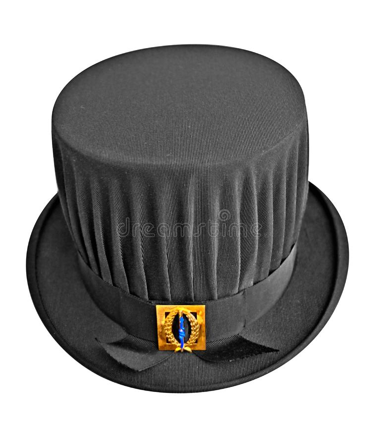 黑博士学位帽子,在学术论文以后 免版税图库摄影