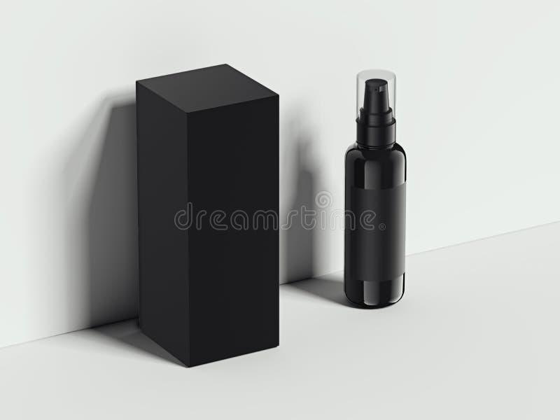 黑卫生学容器和balck箱子在明亮的演播室 3d翻译 库存照片