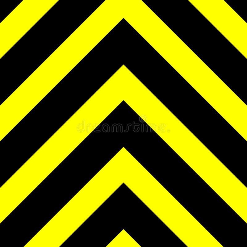 黑向上指向的V形臂章无缝的向量图形在黄色背景的 这符号化危险或危险 库存例证