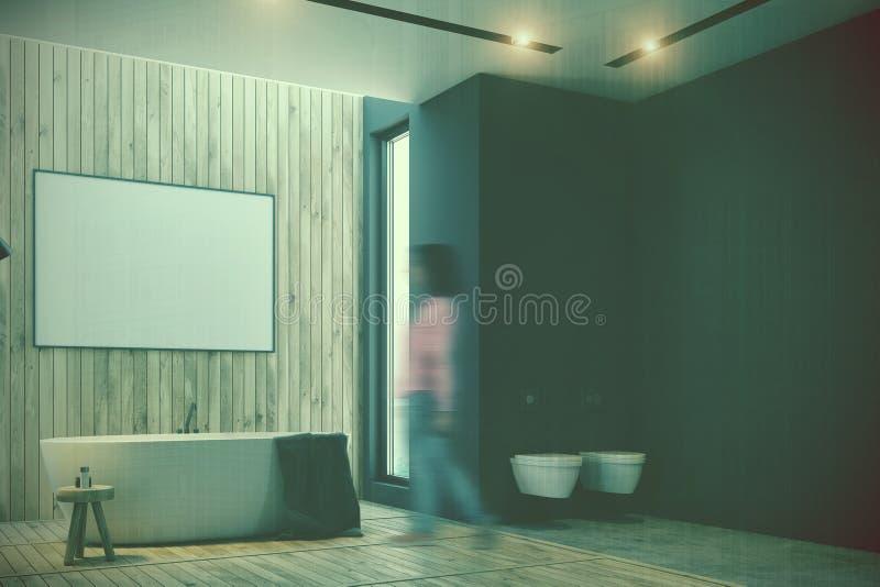 黑和木卫生间,海报,被定调子的木盆 库存例证