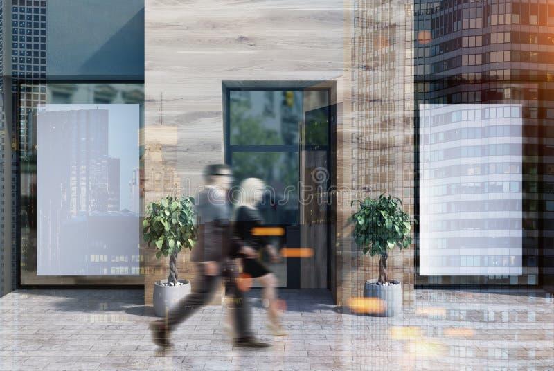 黑和木咖啡馆门面,被定调子的两张海报 库存例证