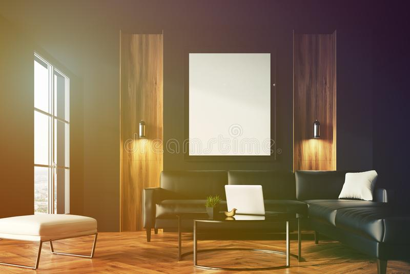 黑和木客厅,被定调子的海报 皇族释放例证