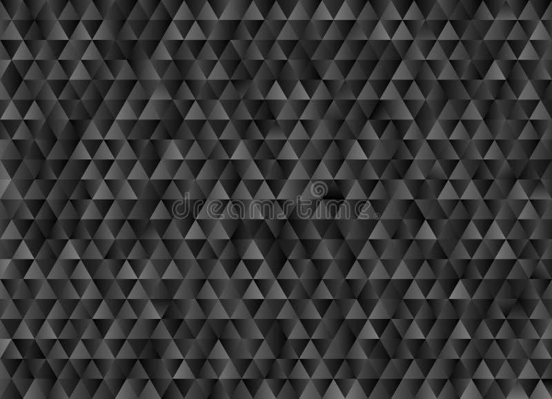 黑和灰色与马赛克作用的三角几何样式背景 库存例证