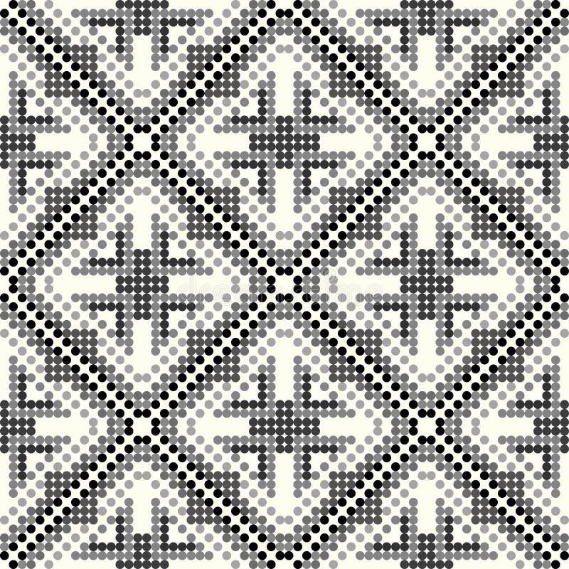 黑和灰色小色的球几何无缝的样式 库存例证