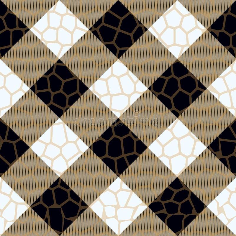 黑和米黄格子花苏格兰人样式 方形的无缝的eps10 库存例证