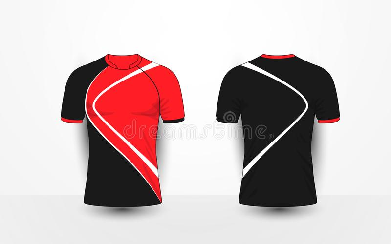 黑和红色与空白线路炫耀橄榄球成套工具,球衣, T恤杉设计模板 皇族释放例证