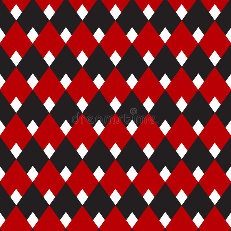 黑和红色方格花布,金刚石无缝的样式,背景的,织品,墙纸,织物印刷葡萄酒样式 皇族释放例证