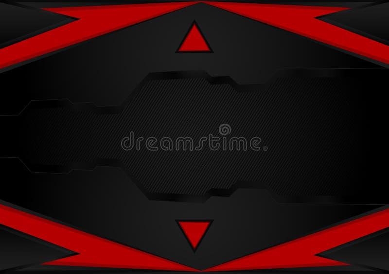 黑和红色条纹 与拷贝空间的抽象传染媒介背景事务和技术的,传染媒介例证 库存例证