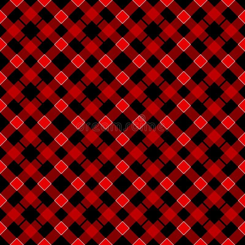 黑和红色格子花苏格兰无缝的样式 从格子呢,格子花呢披肩,桌布,衣裳,衬衣,礼服的纹理 向量例证