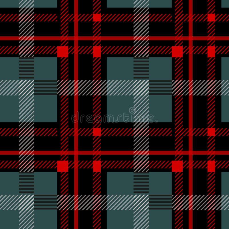 黑和红色格子花苏格兰无缝的样式 从格子呢,格子花呢披肩,桌布,衣裳,衬衣,礼服,纸的纹理, 库存例证
