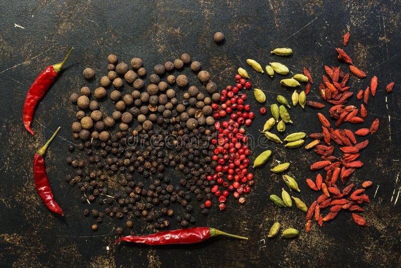 黑和红色甜椒、辣椒、豆蔻果实和goji莓果在黑暗的背景 加香料种类 在视图之上 免版税库存图片
