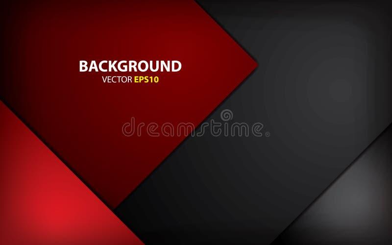 黑和红色背景交叠层数 最小的概念 向量例证