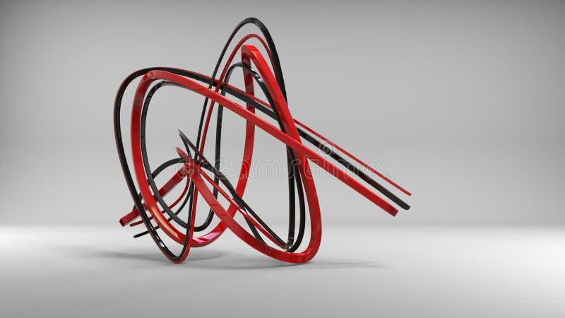 黑和红色金属抽象雕塑 皇族释放例证