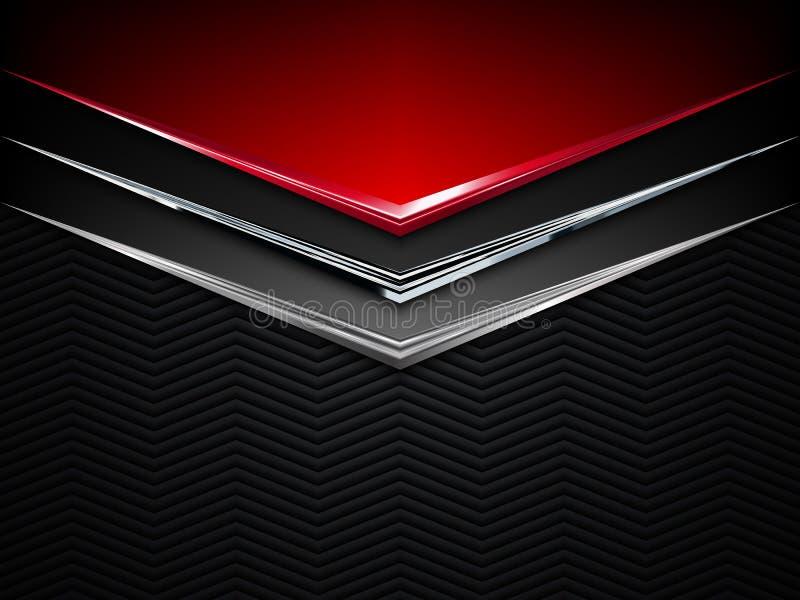 黑和红色金属背景 传染媒介金属横幅 抽象背景技术 向量例证