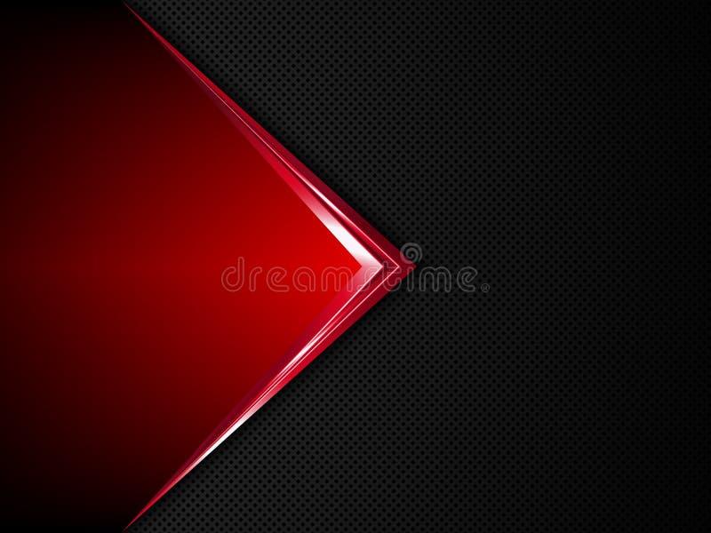 黑和红色金属背景 传染媒介金属横幅 皇族释放例证