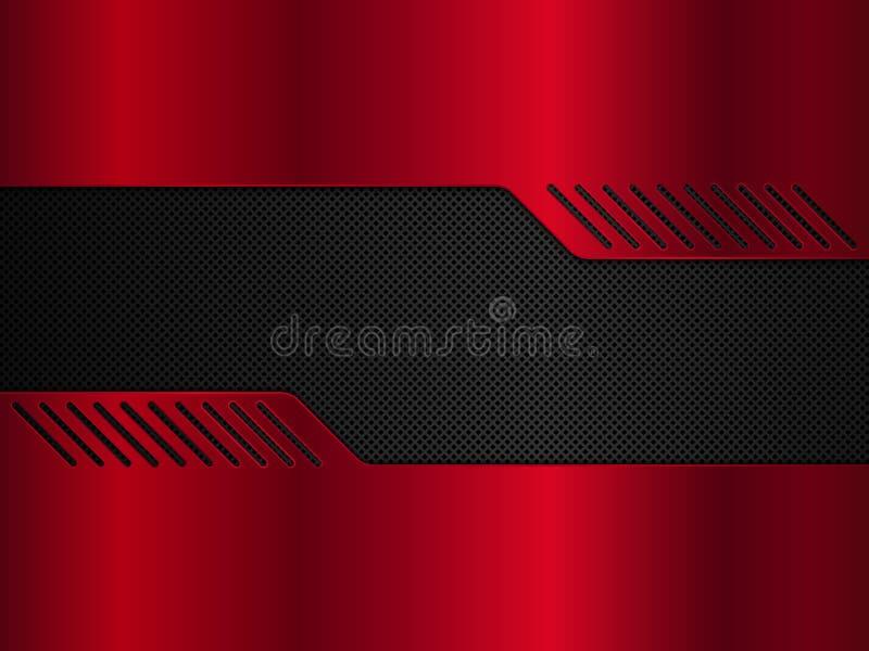黑和红色金属背景 传染媒介金属横幅 E 向量例证