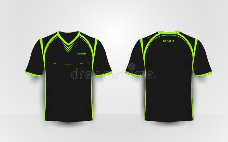 黑和绿色体育橄榄球成套工具,球衣, T恤杉设计模板 皇族释放例证