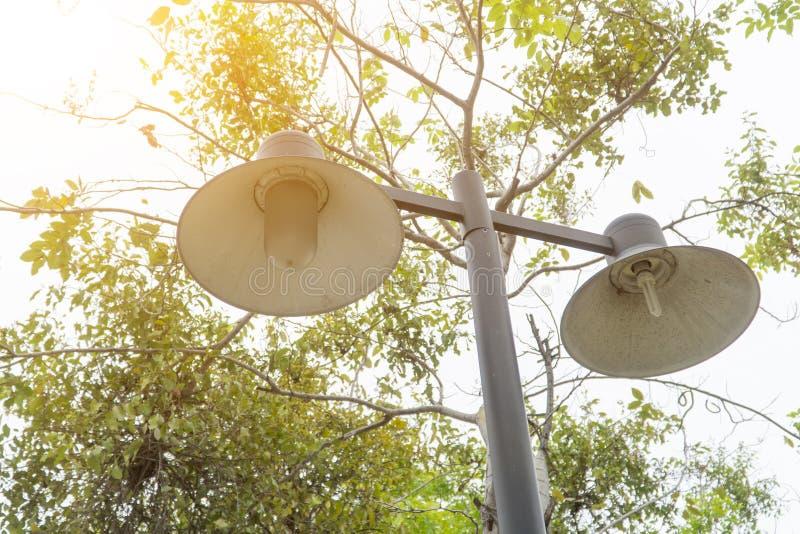 黑和老照明设备专栏在庭院里 免版税库存照片