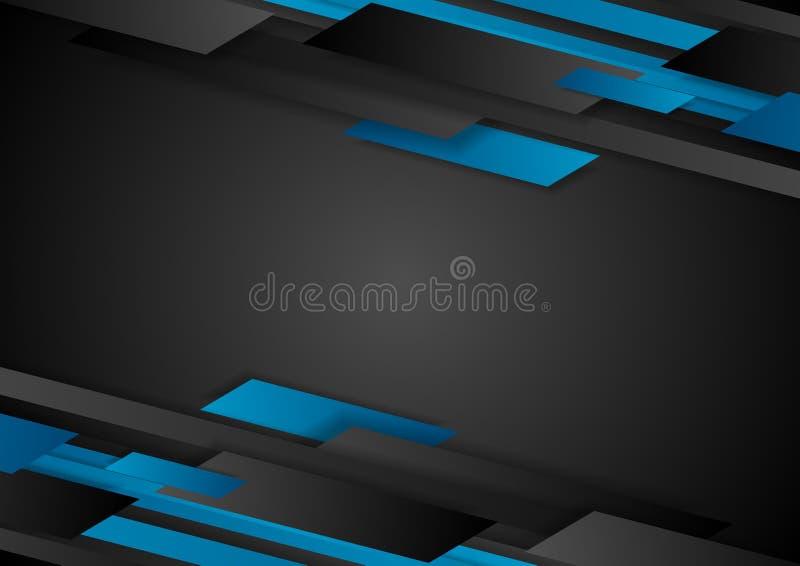 黑和蓝色技术几何抽象背景 库存例证