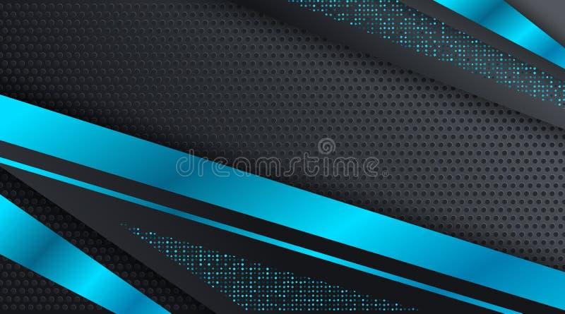黑和蓝色Techno公司业务背景设计模板 向量例证