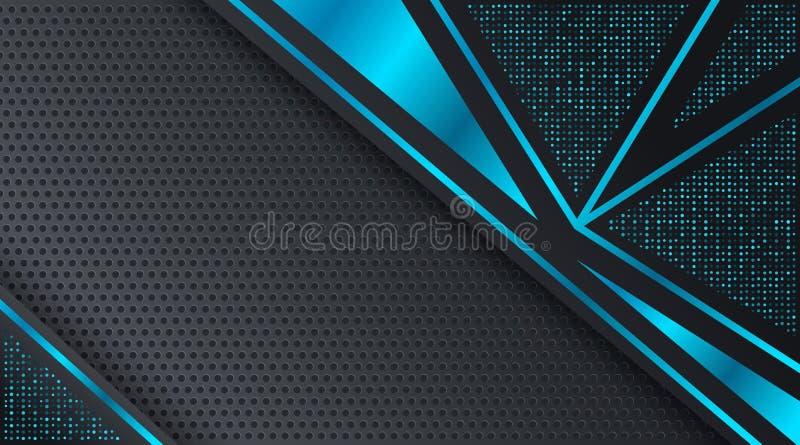 黑和蓝色Techno公司业务背景设计模板 库存例证
