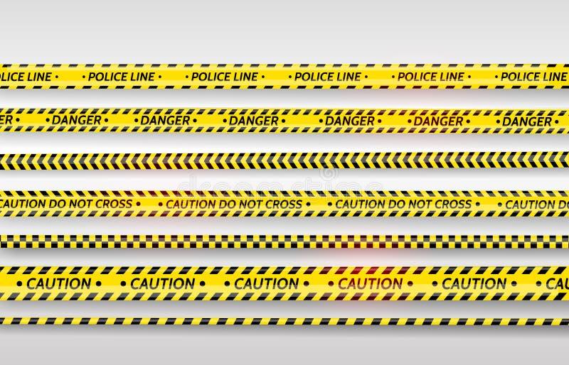 黑和黄色条纹集合 警告磁带 危险标志 小心,中止,建设中,护拦磁带,场面障碍 皇族释放例证