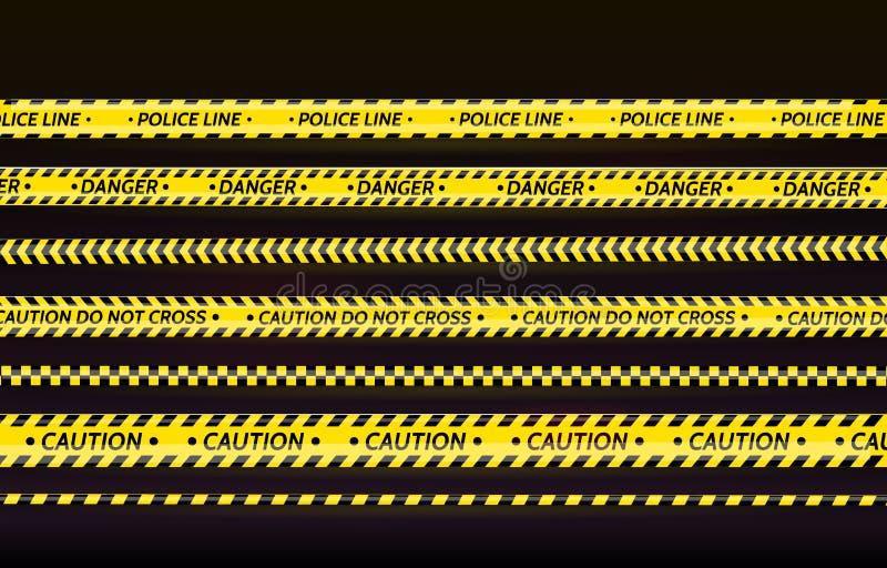黑和黄色条纹集合 警告磁带 危险标志 小心,中止,建设中,护拦磁带,场面障碍 库存例证
