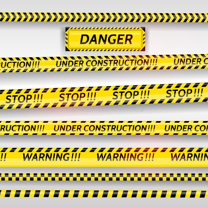 黑和黄色条纹集合 警告磁带 危险标志 小心,护拦磁带,中止,建设中场面 库存例证