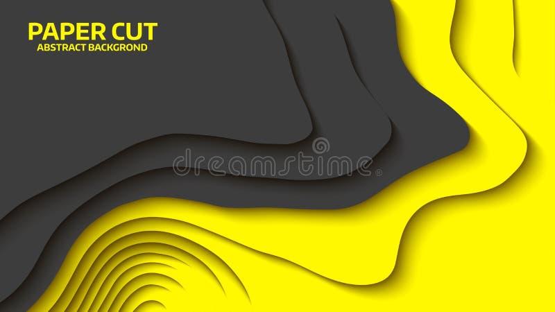 黑和黄色波浪 提取背景剪切纸张向量 抽象五颜六色的通知 波浪的横幅 颜色几何形式 波浪纸裁减 库存例证