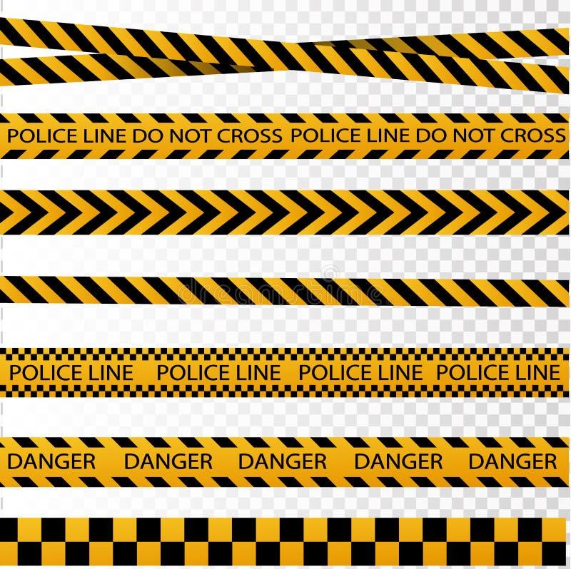 黑和黄色警察镶边边界,建筑,危险小心无缝的磁带传染媒介集合 向量例证